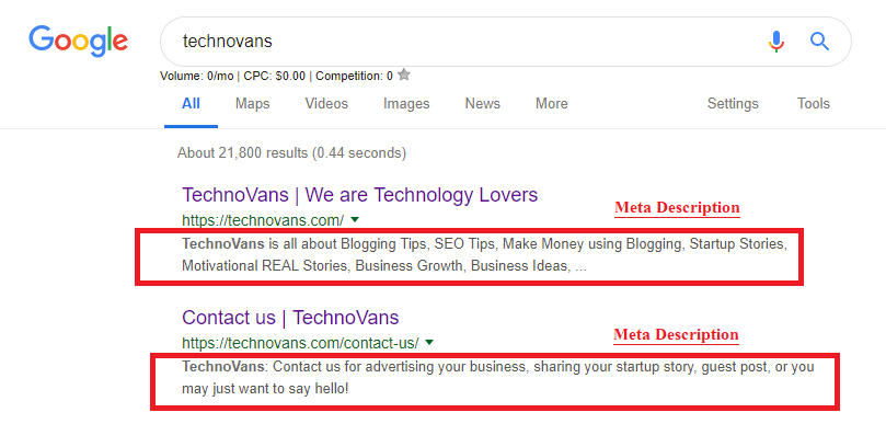 Meta Description For TechnoVans blog and pages