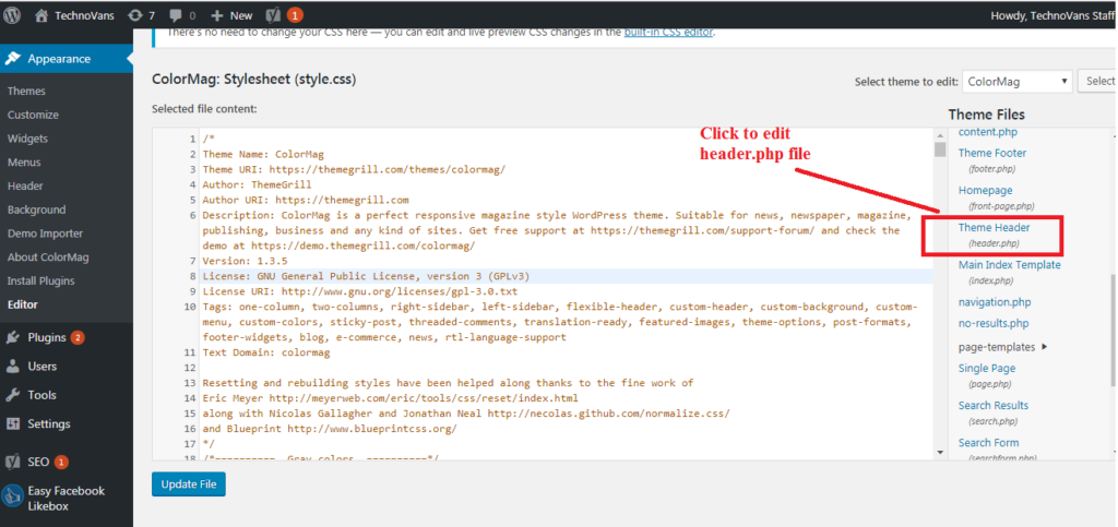 Click on Theme Header option on left side to edit header.php file