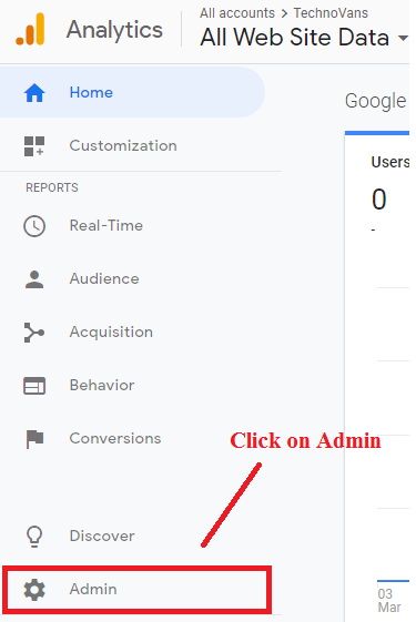 Click on Admin menu ( left side )