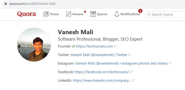 Quora Profile - Vanesh Mali, Blogger at TechnoVans